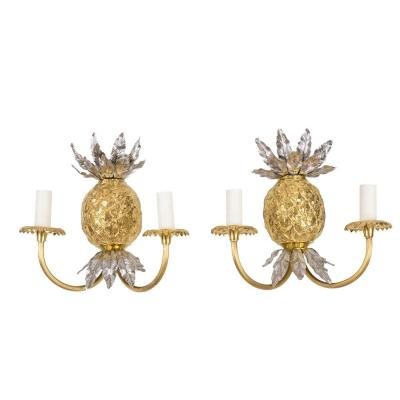 Maison Charles, Pair Of Pineapple Wall Sconces In Gilt Bronze, 1970's - Ls4175