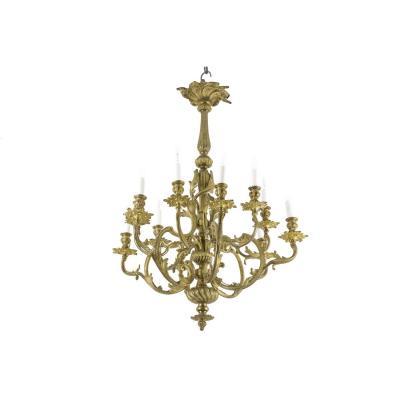 Lustre Style Rocaille En Bronze Doré, Circa 1880 - Ls34901021