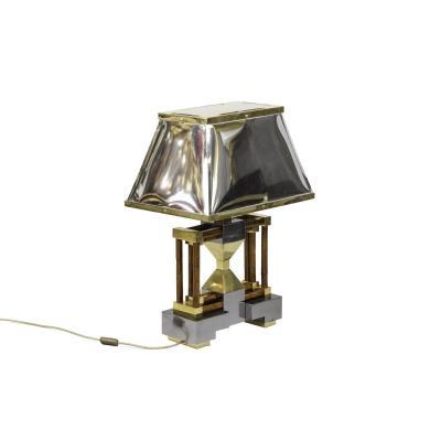 Lampe En Bambou, Laiton Doré Et Argenté, Années 1970 - Ls4120741