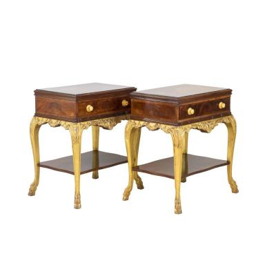 Pair Of Louis XV Style Bedside Tables In Mahogany And Gilt Wood, 1950's- Ls4038