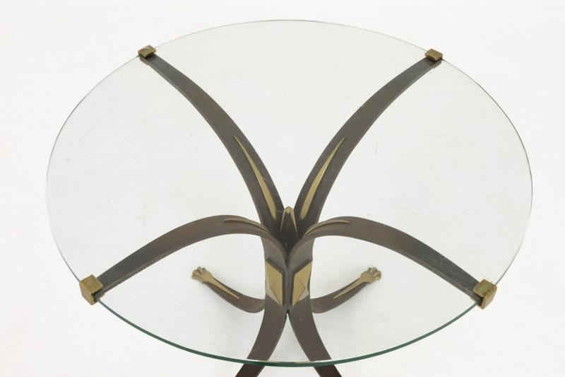 Stand In Patinated Metal, Gilt Bronze And Glass, 1970's - Ls3797421-photo-3