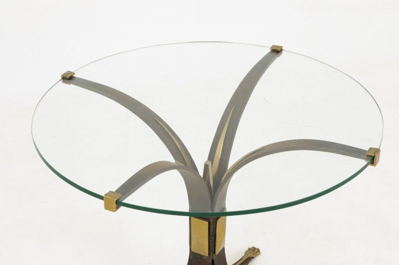 Stand In Patinated Metal, Gilt Bronze And Glass, 1970's - Ls3797421-photo-4