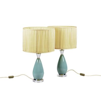 Pair Of Lamps In Blue Porcelain And Silvered Brass, 1970's- Ls3278