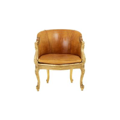Bergère Style Transition In Golden Wood And Leather, Circa 1880 - Op354