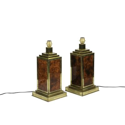 Pair Of Lamps In Bakelite And Gilt Brass, 1970's - Ls4113