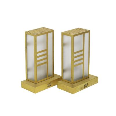Pair Of Oriental Wall Sconces In Glass And Gilt Brass, 1960s- Ls2846b