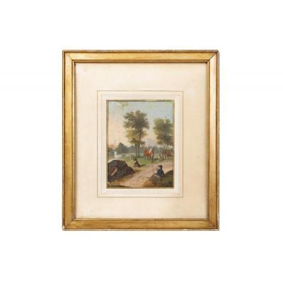 Gouache Sur Papier, Scène Pastorale, Circa 1880 - OP152