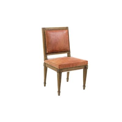 Chaise Style Louis XVI En Bois Naturel Et Cuir Orange, Circa 1880 - OP351