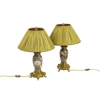 Pair Of Lamps In Satsuma Earthenware And Gilt Bronze, Circa 1880 - Ls2923