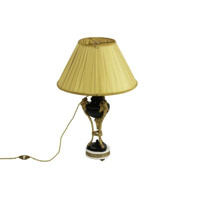 Empire Style Lamp In Two Patinas Bronze, Circa 1880 - Op59