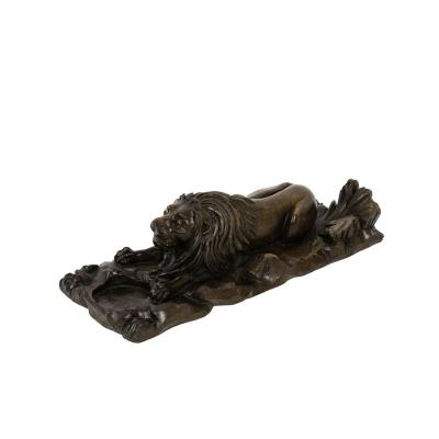 Inkwell In Walnut Figuring A Lion, Circa 1880 - Op459101
