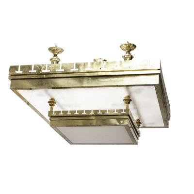 Large Ceiling Light In Gilt Brass And Lucite, 1970's - Ls3385551