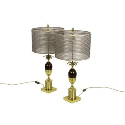 Paire De Lampes Œuf En Bakélite Et Bronze Doré, Années 1970 - Ls4221/4223571