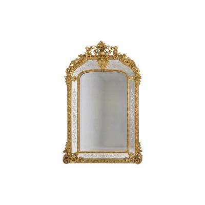 Large Glazings Beads Louis XVI Style Mirror In Gilt Wood, Circa 1880 - Ls42292401