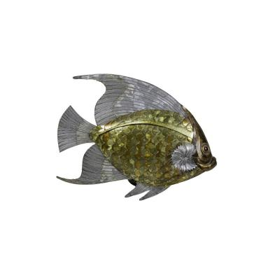 Fish In Copper, Brass And Tin Leaves, 1970's - Op44281