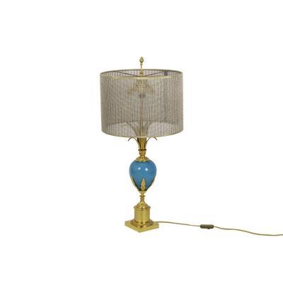 Lampe En Opaline Turquoise Et Bronze Doré, Années 1970 - Op479721