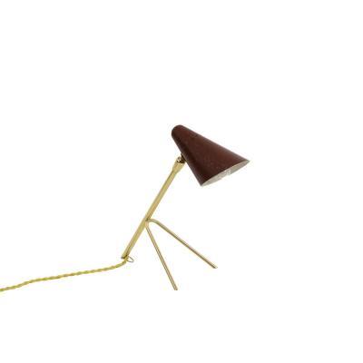 Petite Lampe En Métal Laqué Rouge Et Laiton Doré, Années 1950 - Op475101