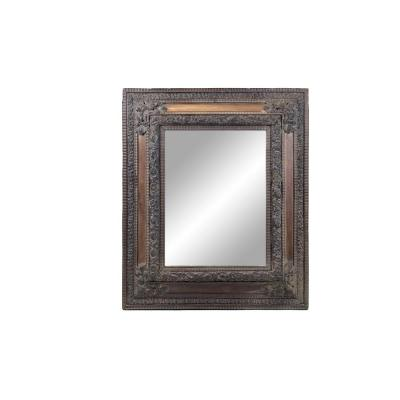 Dutch Style Mirror In Patinated And Embossed Brass And Wood, Circa 1880 - Op28031