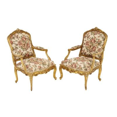 Paire De Fauteuils Style Louis XV En Bois Doré, Circa 1880 - Ls3882b1101