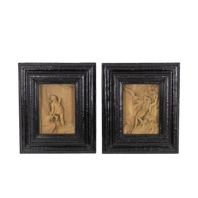 Paire De Petits Tableaux Sculptés, Circa 1880 - OP239201
