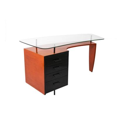 Desk In Black And Orange Lacquered Wood, 1950's - Ls42201051