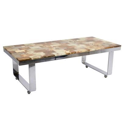 Table Basse En Onyx Et Métal Chromé, Années 1970 - Ls4303201