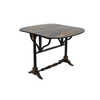 Chinese Style Leaf Table In Black Lacquered Wood, 19th Century - Ls3540551