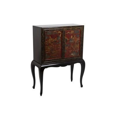 Cabinet Style Chinoisant En Bois Laqué Rouge Et Noir, Années 1950 - Ls4152301