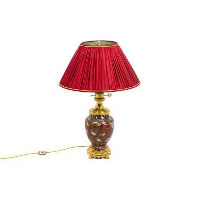 Lampe Cloisonné Rouge, Et Bronze Doré, Circa 1880 - Ls4278201415