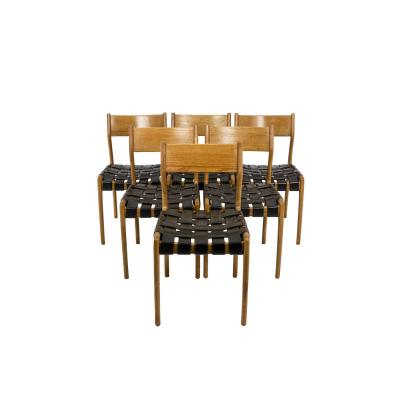 Series Of Six Scandinavian Chairs In Teak And Leather -ls4334751