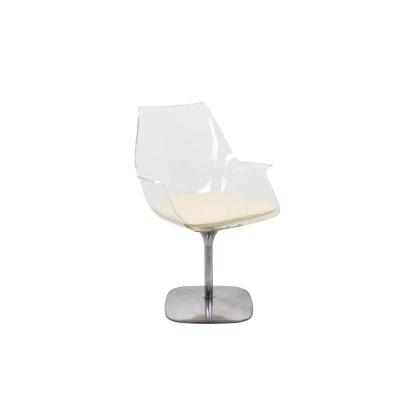 Rotating Desk Chair In Plexiglass And Steel, 1970's - Ls432847081