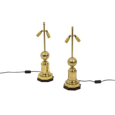 Paire De Lampes En Laiton Doré, Années 1970 - Ls4354201