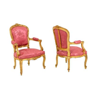 Pair Of Louis XV Style Cabriolet Armchairs In Gilt Wood, Circa 1880 - Ls3994