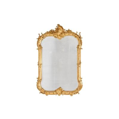 Louis XV Style Mirror In Gilt Wood And Bronze, Napoleon III Period - Ls4395651