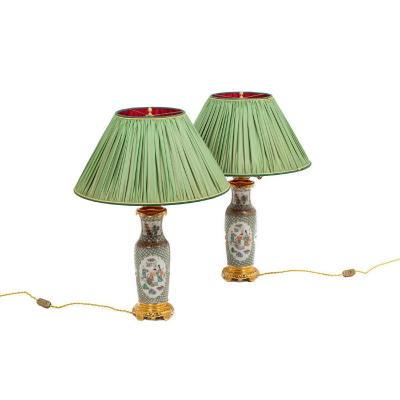 Pair Of Lamps In Canton Porcelain And Gilt Bronze, 19th Century - Ls4361721