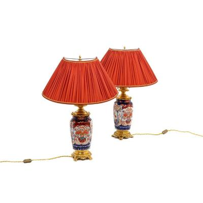 Pair Of Lamp In Imari Porcelain And Gilt Bronze, 19th Century - Ls4366543