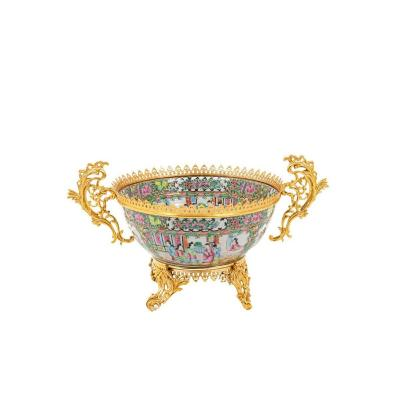 Grande Coupe En Porcelaine De Canton Et Bronze Doré, Circa 1880 - Ls4380485