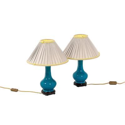 Pol Chambost, Paire De Petites Lampes En Céramique Et Bronze Doré, XXème Siècle - Ls4372397