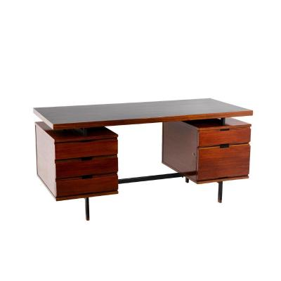 Pierre Guariche, Desk In Mahogany And Lacquered Metal, 1960's - Ls43871501