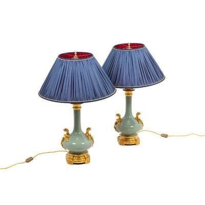 Pair Of Lamps In Celadon Porcelain And Gilt Bronze, Napoleon III Era - Ls43331102