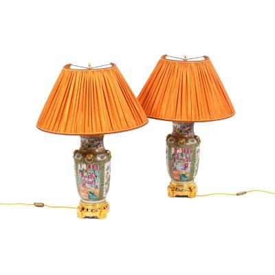 Pair Of Lamps In Canton Porcelain, Circa 1880 - Ls44191111