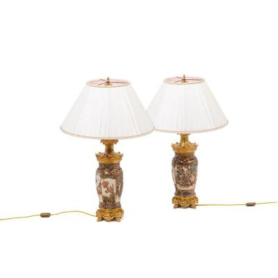 Pair Of Lamps In Satsuma Earthenware, Circa 1880 - Ls43591064
