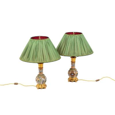 Pair Of Lamps In Gien Porcelain, 19th Century - Ls4386621