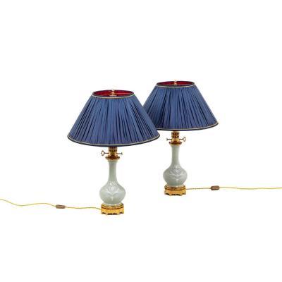 Paire De Lampe En Porcelaine Céladon De Style Louis XVI, Circa 1880 - Ls4364591