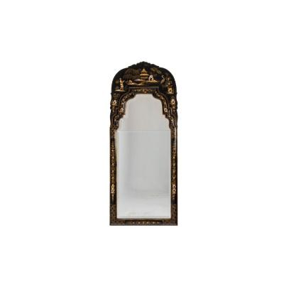 Chippendale Style Mirror In Black Lacquer, 1950's - Ls4454201