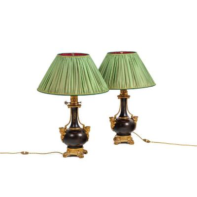 Paire De Lampes En Tôle Et Bronze Doré, Circa 1880, Op529901