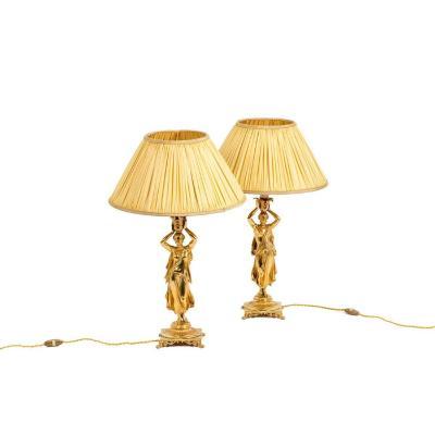Paire de lampes en bronze doré, circa 1880, OP5281351
