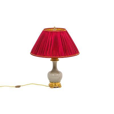 Lampe En Porcelaine Céladon Craquelée Et Bronze Doré, Circa 1880, Ls4517471
