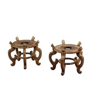Paire De Socles En Bois De Fer De Style Asiatique, Années 1900, Ls4644211