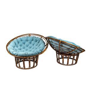 Paire de fauteuils « Papasan » en rotin et tissu matelassé, années 1970, LS43301351